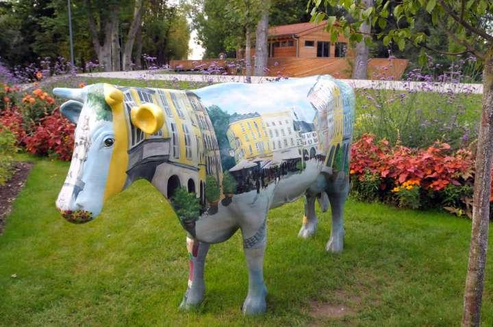 Ein Gag - Vor der Mokerei macht eine Kuh Werbung für die Altstadt Rosenheims - Im Hintergrund die Arche